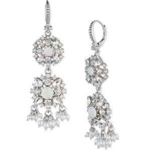 Faux Pearl and Crystal Double Drop Earrings